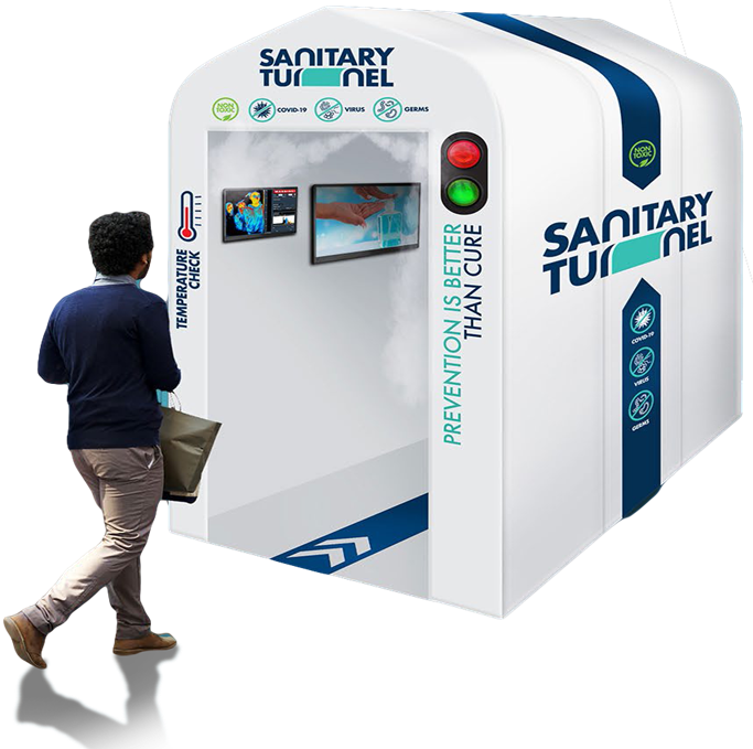 Plug & play stanitization station + Sanitary Tunnel Water based